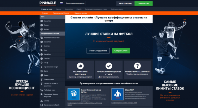 Ставки на спорт с БК Pinnacle